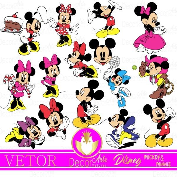 Kit Digital Minnie E Mickey Em Vetor No Elo7