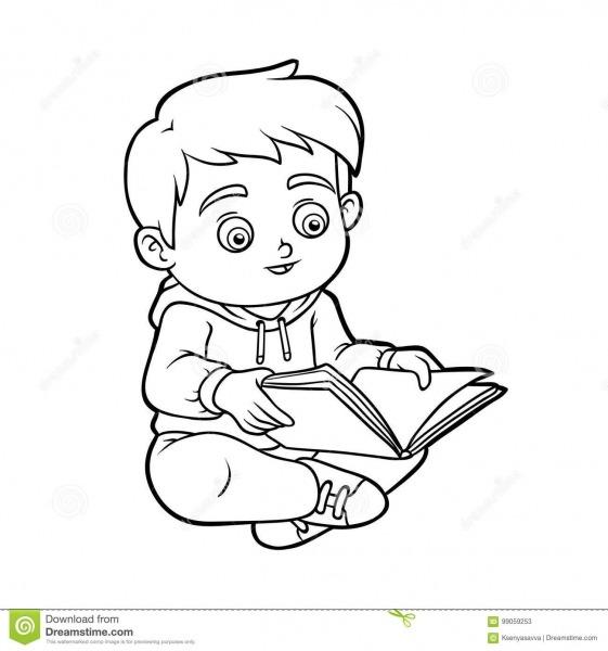 Livro Para Colorir, Menino Novo Que Lê Um Livro Ilustração Do