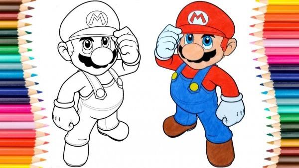 Colorir Desenho Do Super Mario Pintar E Aprender Cores Para