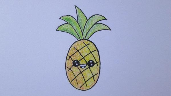 Como Desenhar Um Abacaxi Kawaii