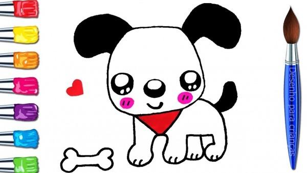 Como Desenhar E Colorir Cachorro Fofos