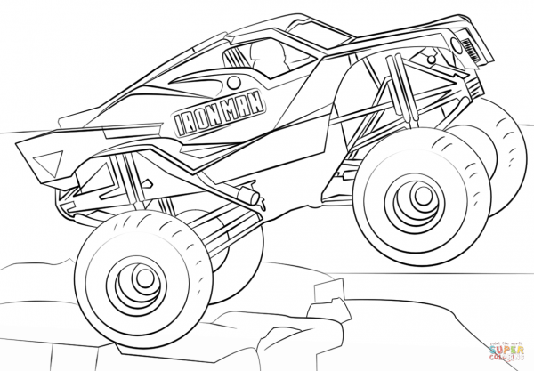 Coloring Pages   Monster Truck Coloring Book Iron Man Page Free
