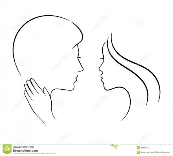 Pares No Amor, Desenho Do Contorno Ilustração Do Vetor