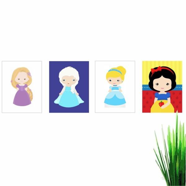 Qudros Princesas Da Disney Infantil Desenho 50x40 Qp3478 4un No