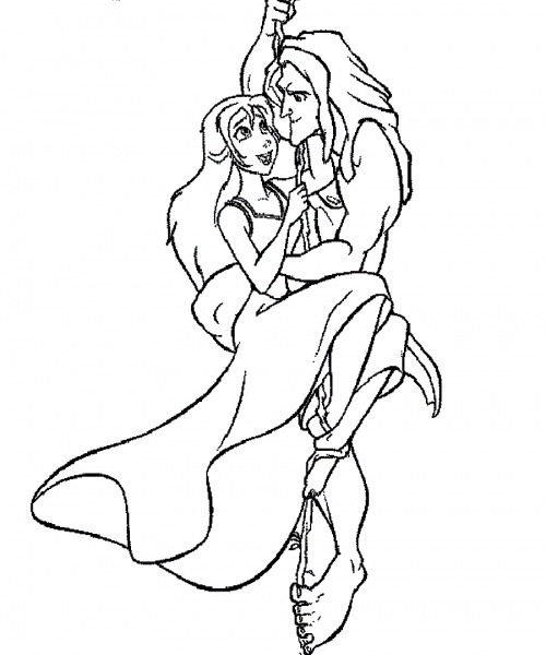 Desenho De Tarzan Salvando Jane Para Colorir