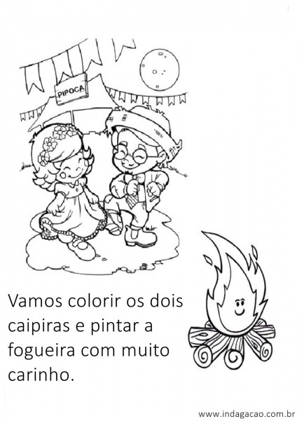 Vamos Colorir Os Dois Caipiras E Pintar A Fogueira Com Muito