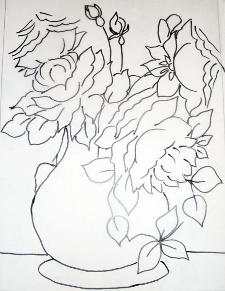Risco Pintura Vaso De Rosas