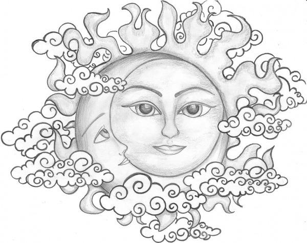 Sol E Lua Para Colorir