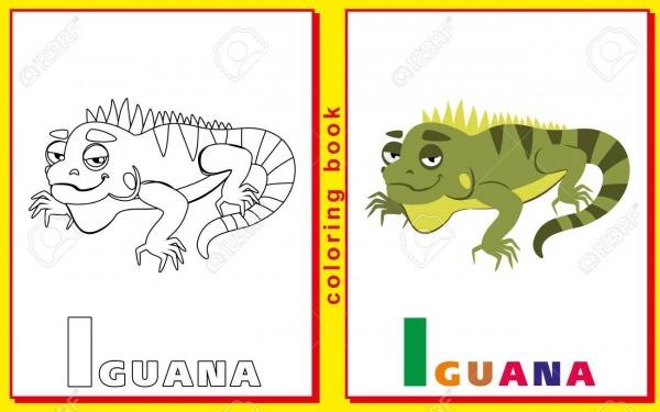 Niños Para Colorear Con Letras Y Palabras  La Letra I  Iguana