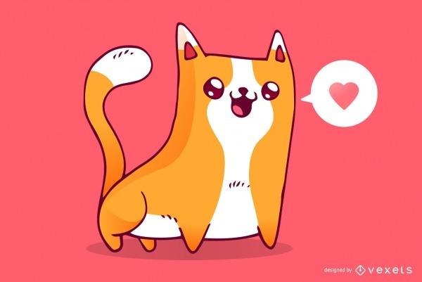 Desenho De Amor De Gato Fofo