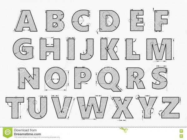 Alfabeto No Estilo De Um Desenho Técnico Ilustração Do Vetor