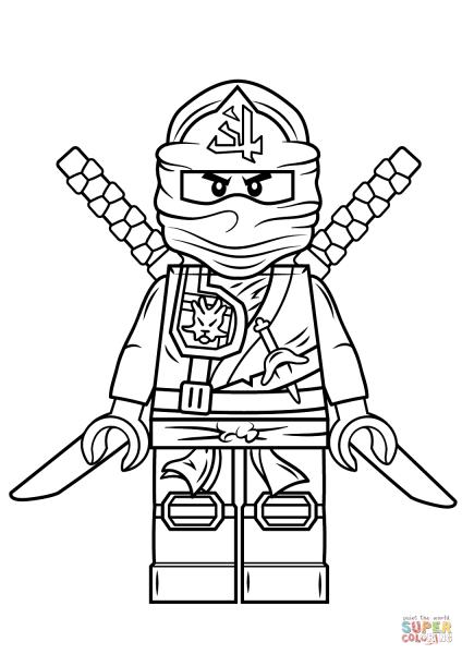 Desenho De Lego Ninjago Ninja Verde Para Colorir