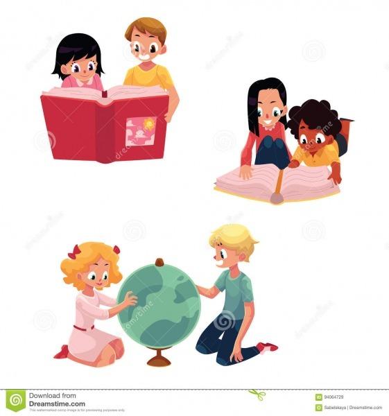 Crianças, Crianças Que Leem, Estudando, Aprendendo Junto