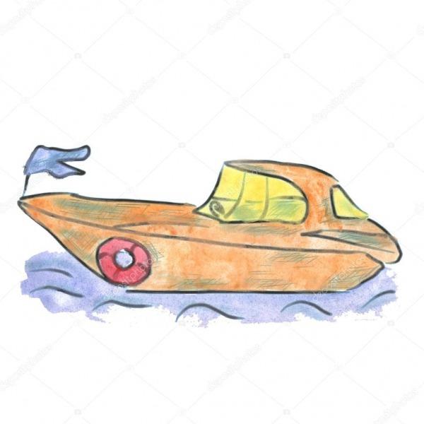 Aquarela De Desenhos Animados De Lancha Amarelo Isolada — Stock