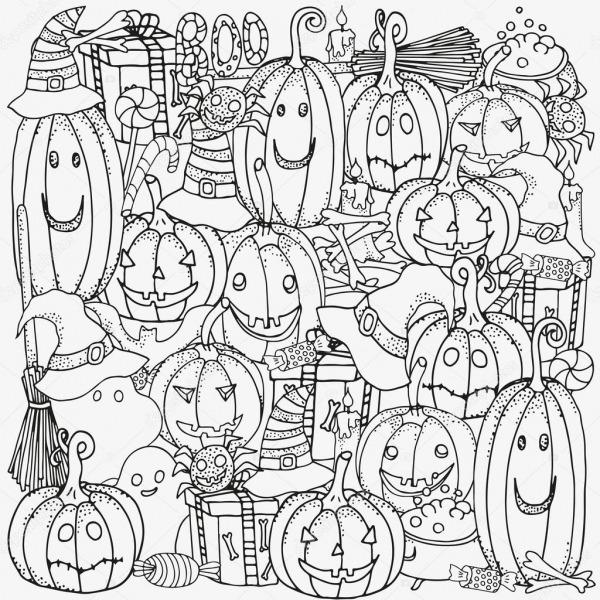 Símbolos Do Halloween  Padrão De Livro Para Colorir — Vetor De