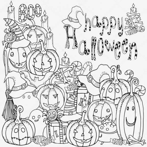 Símbolos Do Halloween  Padrão De Livro Para Colorir — Vetores De