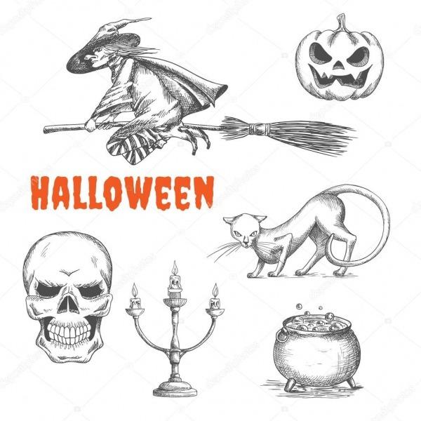 Símbolos De Decoração De Halloween Em Desenho A Lápis — Vetores De