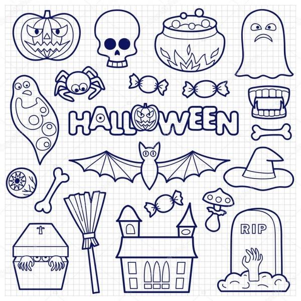Halloween Patches Conjunto Em Papel Quadriculado — Vetores De
