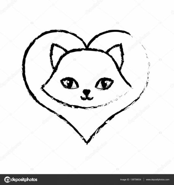 Desenho De Gato Fofo Lindo Amor Animal — Vetores De Stock © Djv