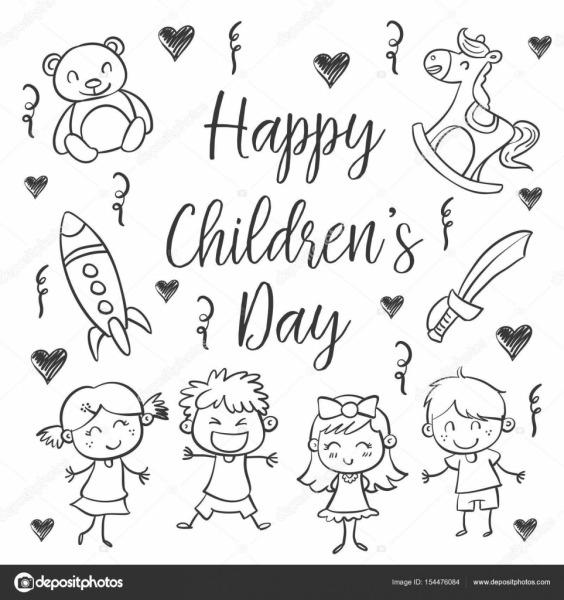 Mão Desenhar Estilo Do Dia Das Crianças — Vetores De Stock