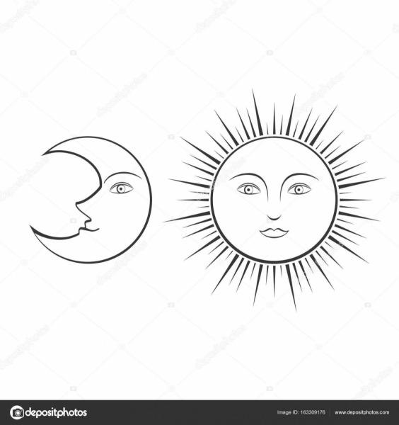 Lua E Sol Com Rostos, Ilustração De Linha Para Colorir — Vetores