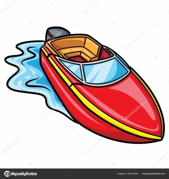 Barco A Motor Bonito Dos Desenhos Animados — Vetores De Stock