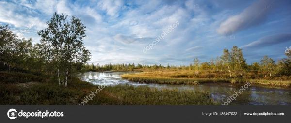 Belo Panorama Paisagem Lago Norte Floresta Alta Resolução Para