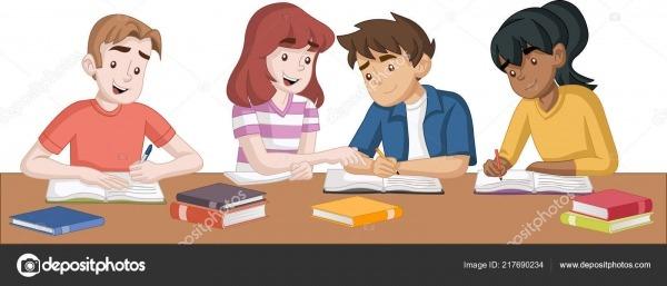 Alunos Adolescente Dos Desenhos Animados Com Livros Crianças
