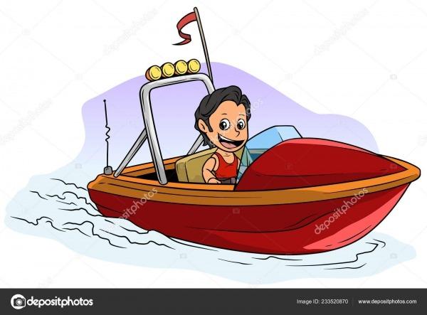 Personagem De Desenho Animado Menino Morena Na Lancha Vermelha