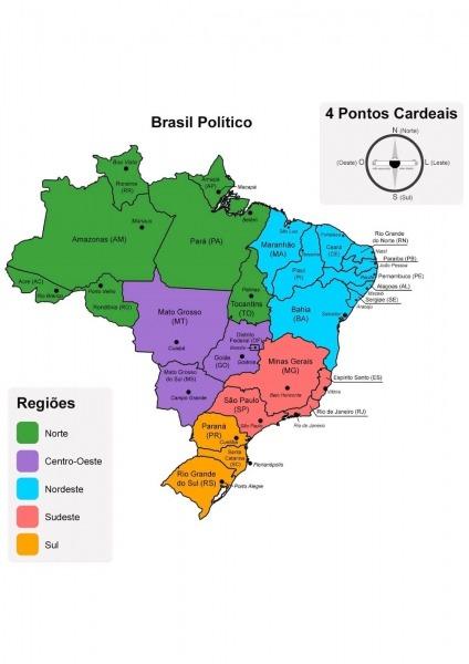 Pedagogas Da Paz  Mapa Politico Do Brasil Colorido Para Imprimir