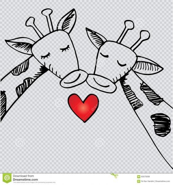 Dois Girafas Dos Desenhos Animados No Amor Ilustração Stock