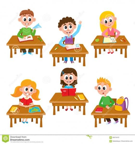 A Escola Primária Caçoa Na Sala De Aula
