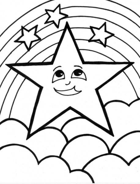 Estrela E Arco íris – Desenhos Para Colorir