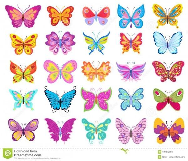 Grupo De Borboletas Coloridas Dos Desenhos Animados Que Tiram No