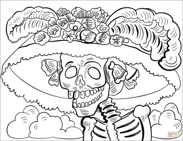 Desenho De La Catrina Para Colorir