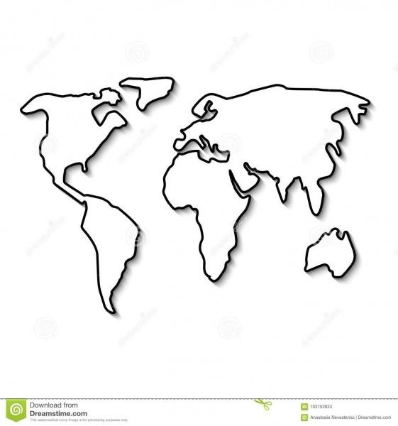 Linha Preta Do Mapa Do Mundo Ilustração Do Vetor