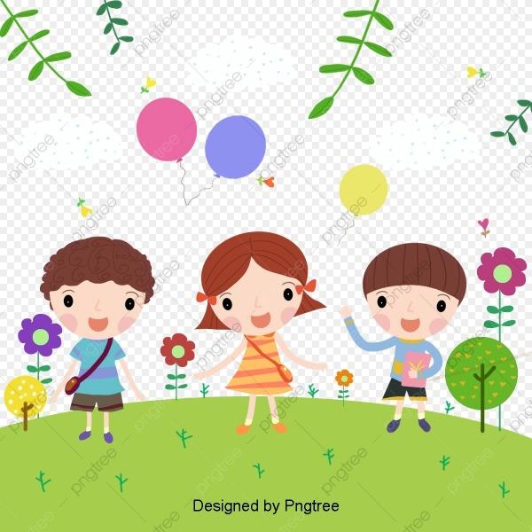 Vetor Desenho Crianças Brincando, Vector, Pintados à Mão, Cartoon
