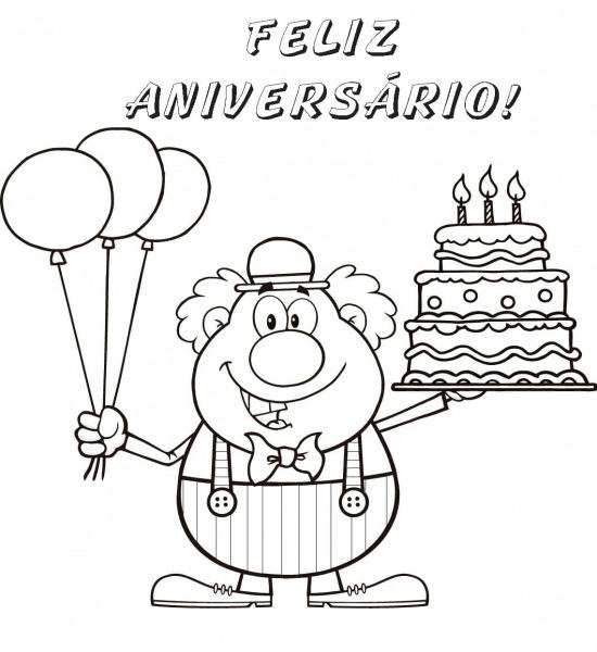 Desenhos De Feliz Aniversário Para Colorir  Imprimir Cartão Postal