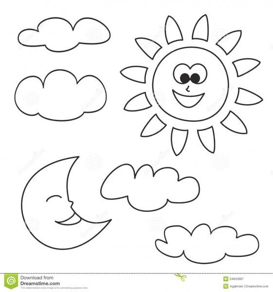 Sun, A Lua E As Nuvens Vector Os ícones Isolados No Fundo Branco