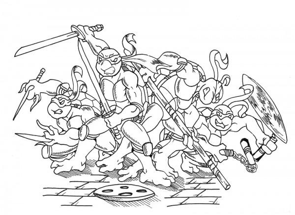 Desenho Tartaruga Ninja Para Colorir