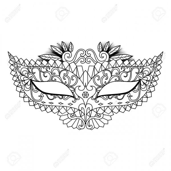 Cuatro Diseños De Máscaras De Carnaval Para Colorear Para Adultos