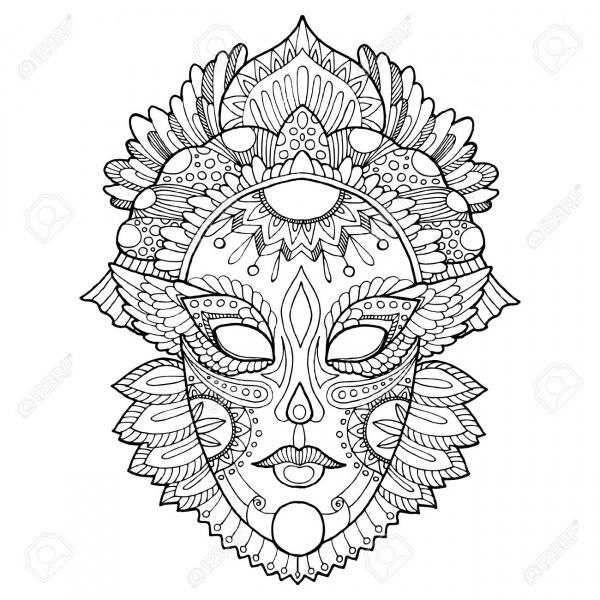 Máscara De Carnaval Para Colorear Ilustración Vectorial