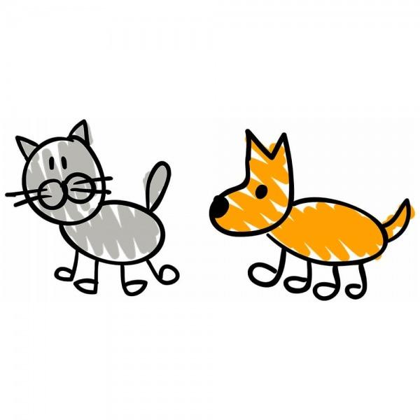 Adesivo De Parede Gato Cachorro Desenho Grande 75x35 Cm No Elo7