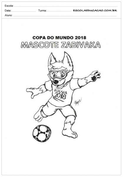 Atividades Sobre A Copa Do Mundo Para Colorir Mascote
