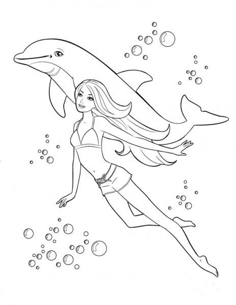 Barbie Nadando Com Golfinho – Desenhos Para Colorir