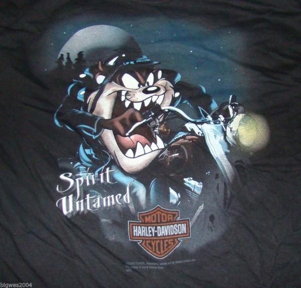 Vtg Harley Davidson Looney Tunes Taz Shirt Mens M Motorcycle Rare