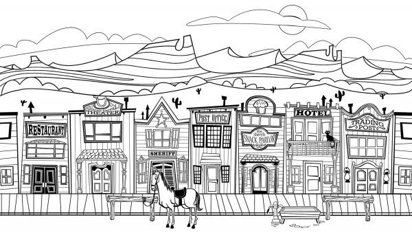 Desenho De Cidade Do Velho Oeste Para Colorir