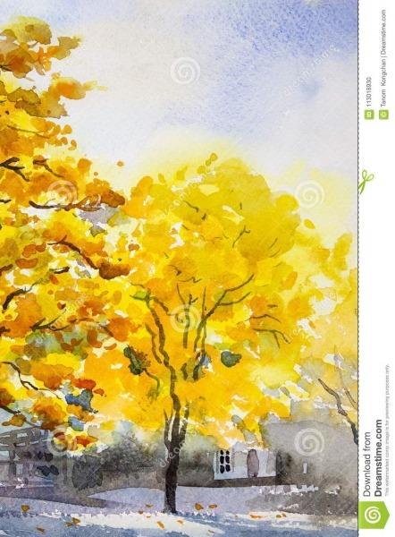 Colorido Original Da Aquarela Da Paisagem Da Pintura Da árvore
