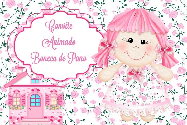 Convite Animado Boneca De Pano No Elo7