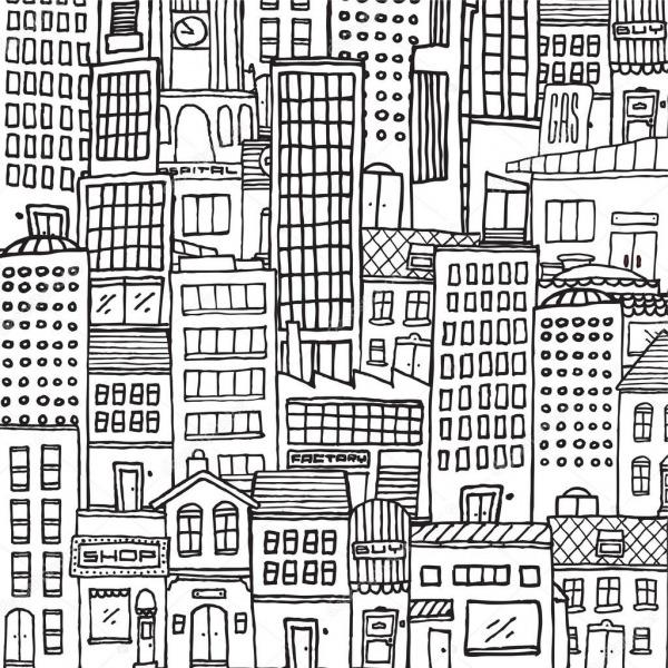 Preto E Branco Textura De Cidade Dos Desenhos Animados Para
